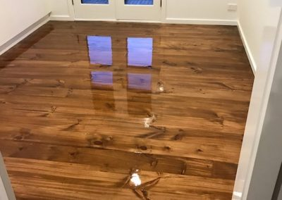 Baltic pine floor with walnut teak hand stain & Bona Silk Matt finish A