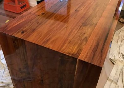 polished timber bench tops